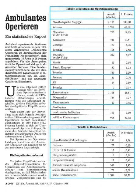 Ambulantes Operieren: Ein statistischer Report