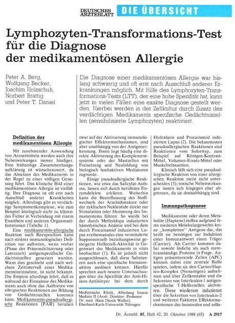 Lymphozyten-Transformations-Test für die Diagnose...