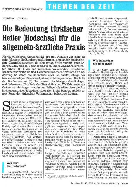 Die Bedeutung türkischer Heiler (Hodschas) für die...
