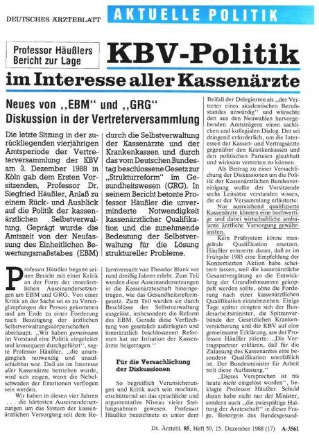 Professor Häußlers Bericht zur Lage