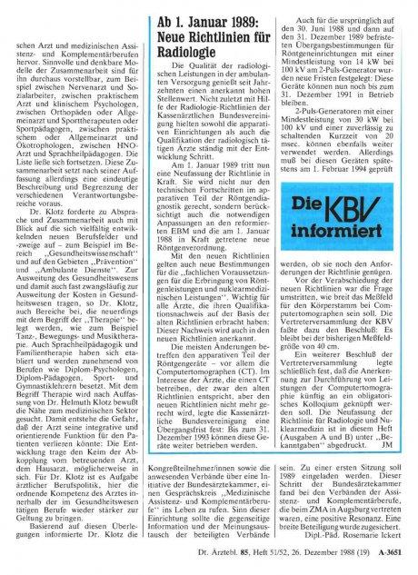 Ab 1. Januar 1989: Neue Richtlinien für Radiologie