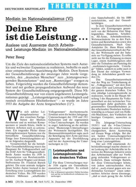 Medizin im Nationalsozialismus (VI)