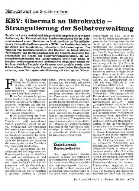 Blüm-Entwurf zur Strukturreform – KBV