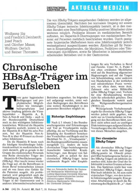 Chronische HBsAg-Träger im Berufsleben