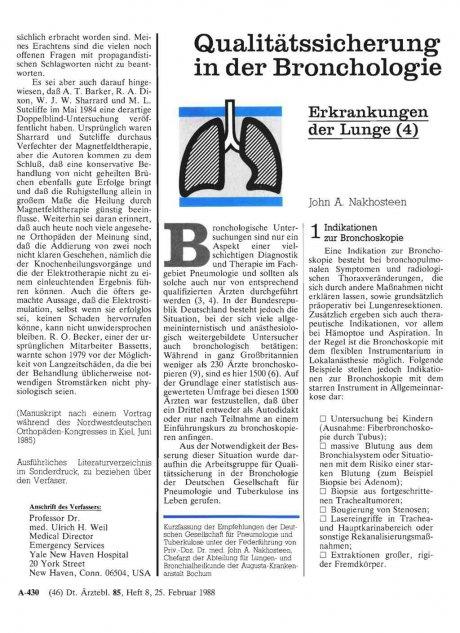 Qualitätssicherung in der Bronchologie