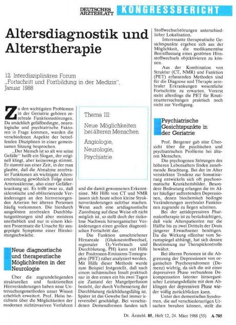 Altersdiagnostik und Alterstherapie