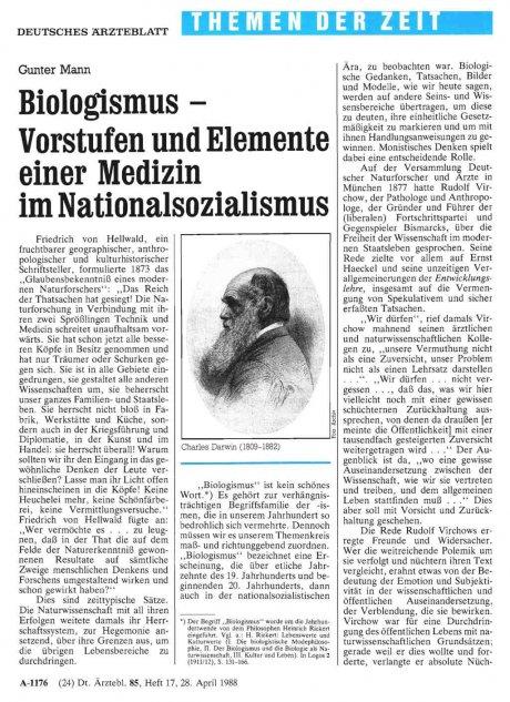 Biologismus - Vorstufen und Elemente einer Medizin...