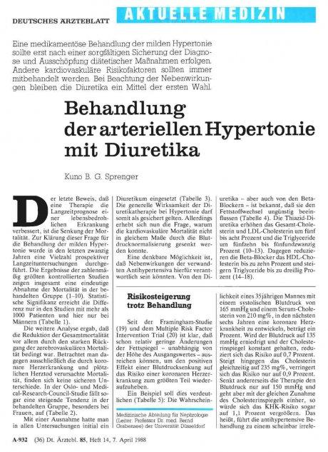 Behandlung der arteriellen Hypertonie mit...