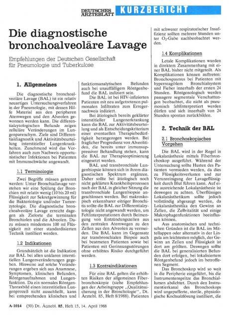 Die diagnostische bronchoalveoläre Lavage
