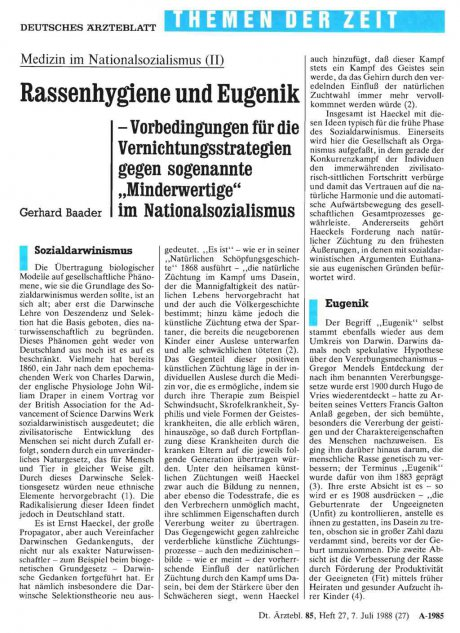Rassenhygiene und Eugenik – Vorbedingungen für die...