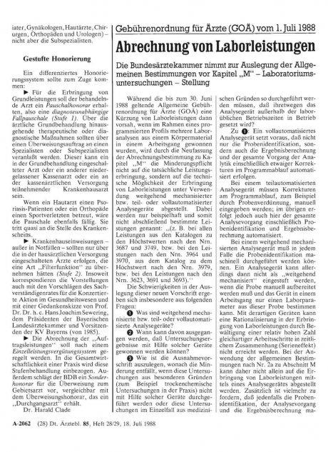Gebührenordnung für Ärzte (GOÄ) vom 1. Juli 1988