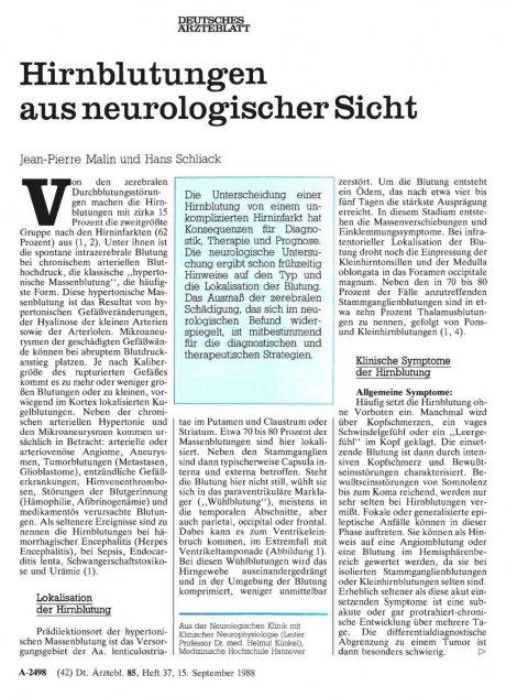 Hirnblutungen aus neurologischer Sicht