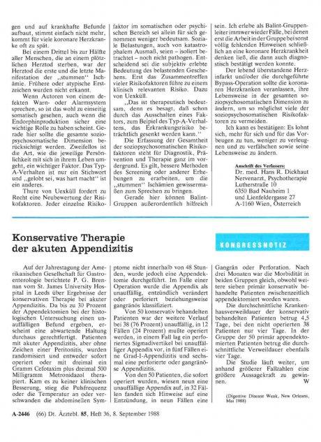 Konservative Therapie der akuten Appendizitis