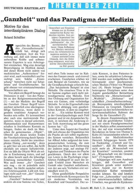 """""""Ganzheit"""" und das Paradigma der Medizin"""