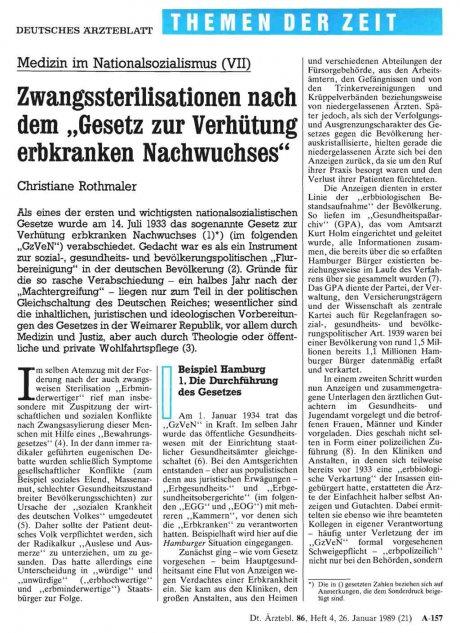 Medizin im Nationalsozialismus (VII)