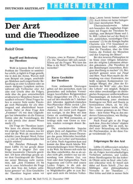 Der Arzt und die Theodizee