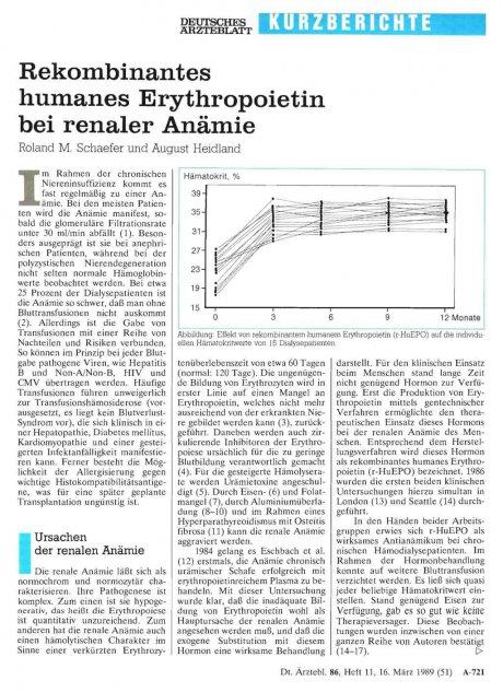 Rekombinantes humanes Erythropoietin bei renaler...
