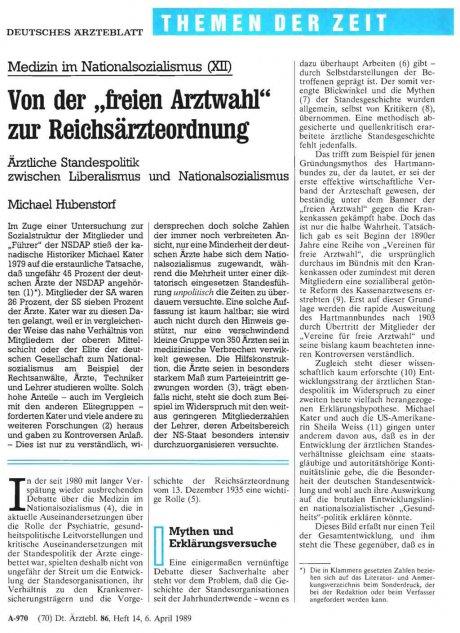 """Von der """"freien Arztwahl"""" zur Reichsärzteordnung"""