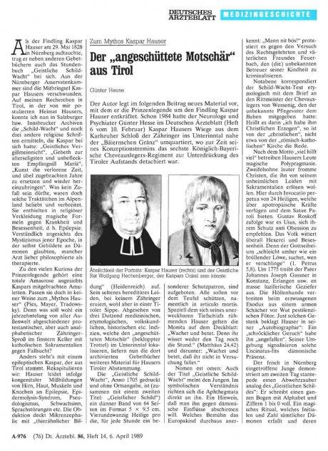 Zum Mythos Kaspar Hauser