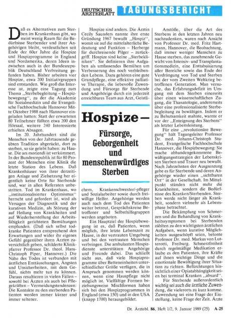 Hospize – Fürsorge, Geborgenheit und...