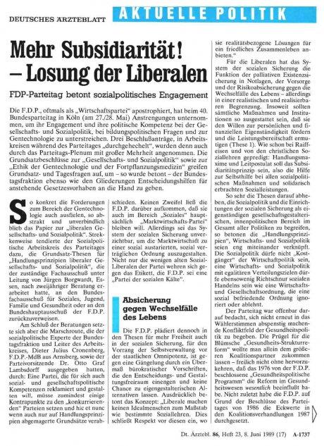 Mehr Subsidiarität! – Lösung der Liberalen
