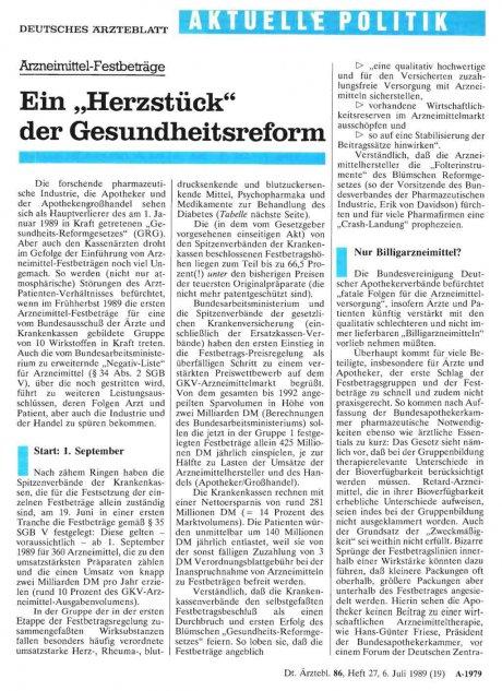 """Arzneimittel-Festbeträge Ein """"Herzstück"""" der..."""
