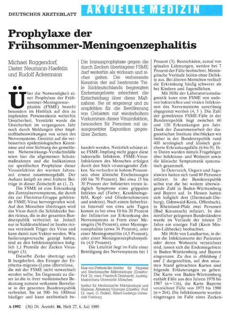 Prophylaxe der Frühsommer-Meningoenzephalitis