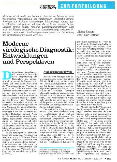 Moderne virologische Diagnostik