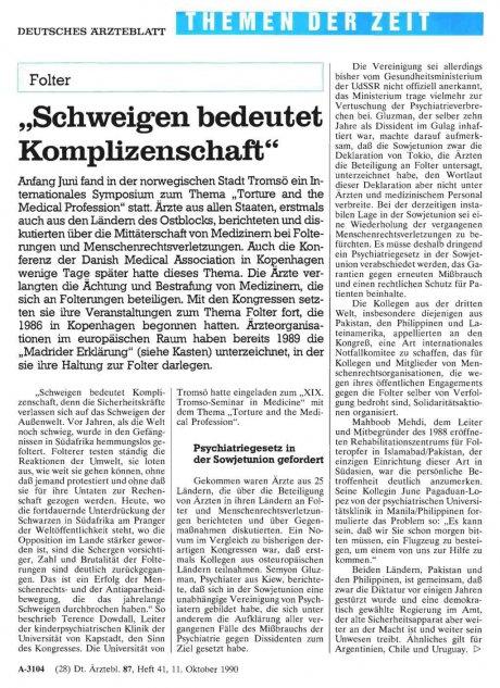 """Folter: """"Schweigen bedeutet Komplizenschaft"""""""