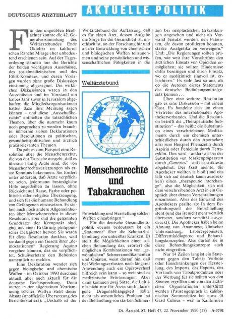 Weltärztebund: Menschenrechte und Tabakrauchen