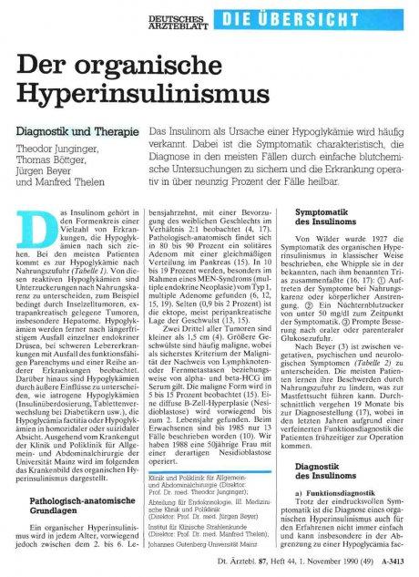 Der organische Hyperinsulinismus