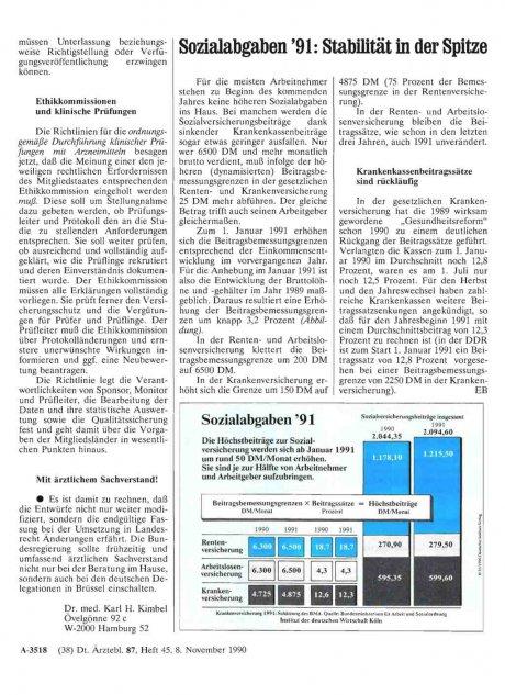 Sozialabgaben '91: Stabilität in der Spitze