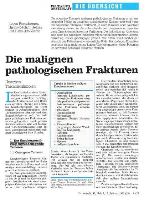 Die malignen pathologischen Frakturen