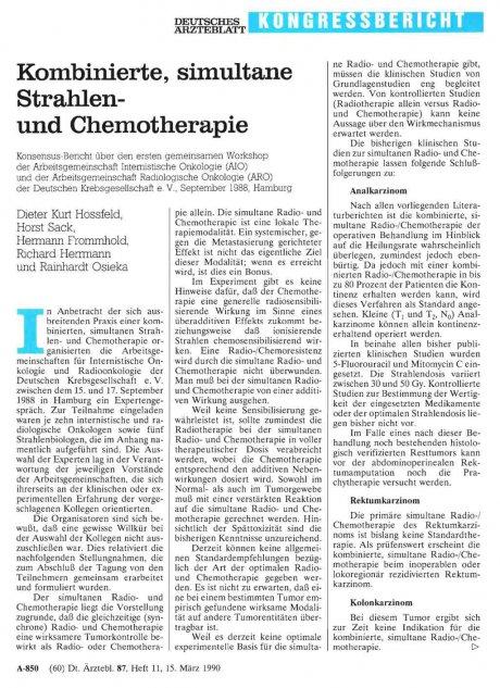 Kombinierte, simultane Strahlenund Chemotherapie