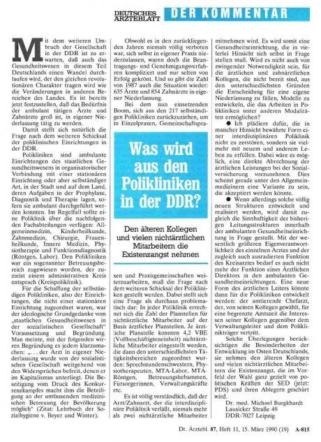 Was wird aus den Polikliniken in der DDR?