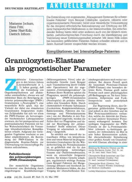 Granulozyten-Elastase als prognostischer Parameter
