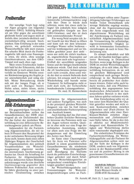 Allgemeinmedizin – DDR Erfahrungen