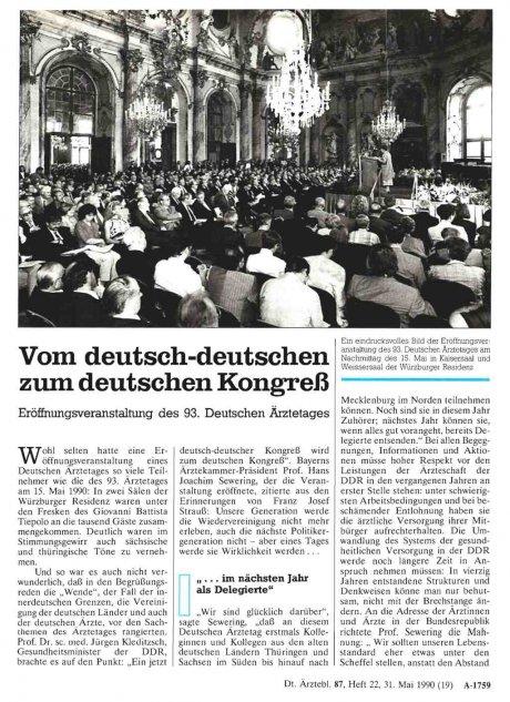 Vom deutsch-deutschen zum deutschen Kongreß
