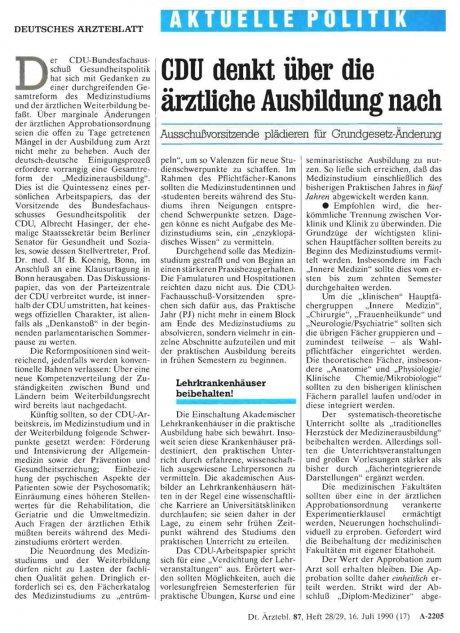 CDU denkt über die ärztliche Ausbildung nach