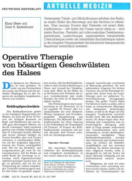 Operative Therapie von bösartigen Geschwülsten des...