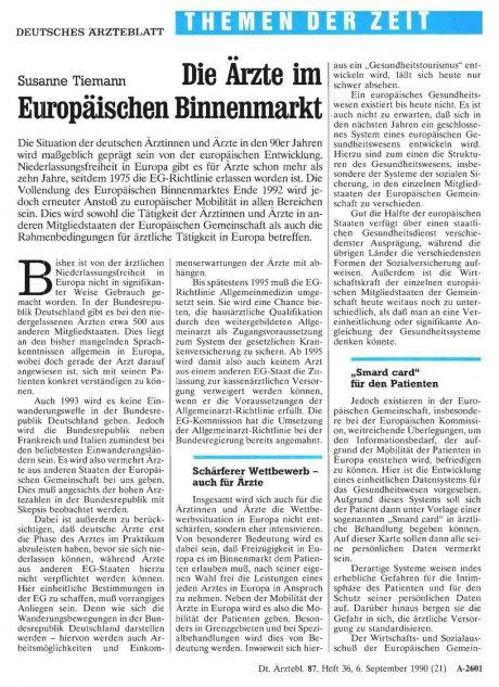 Die Ärzte im Europäischen Binnenmarkt