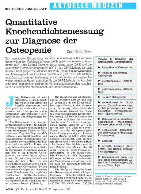 Quantitative Knochendichtemessung zur Diagnose der...