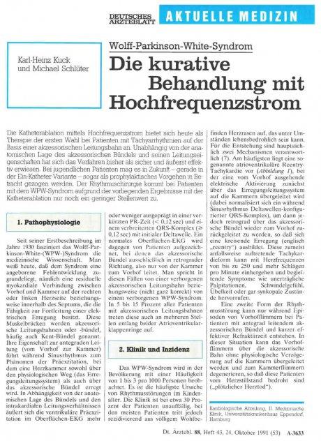 Wolff-Parkinson-White-Syndrom: Die kurative Behandlung mit Hochfrequenzstrom