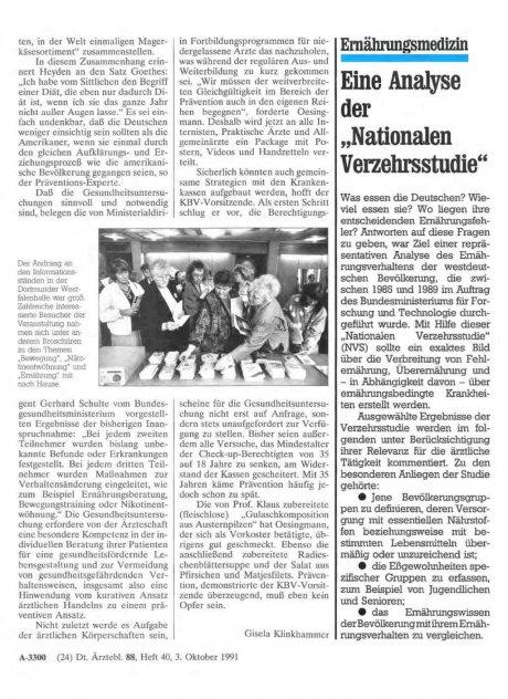 """Ernährungsmedizin: Eine Analyse der """"Nationalen Verzehrsstudie"""""""