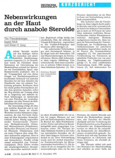 Nebenwirkungen an der Haut durch anabole Steroide