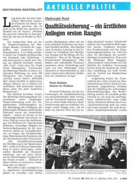 Marburger Bund: Qualitätssicherung – ein ärztliches Anliegen ersten Ranges