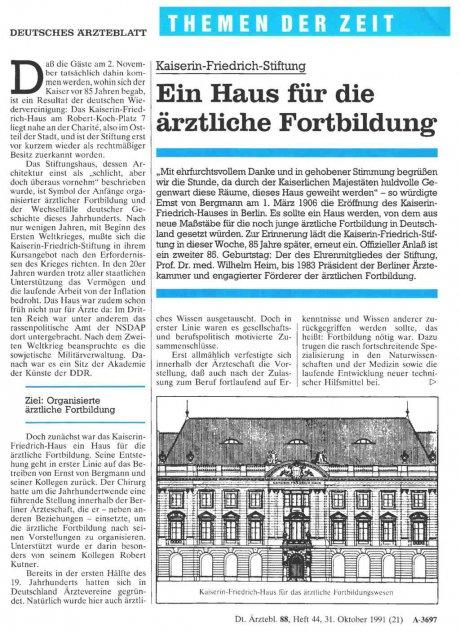 Kaiserin-Friedrich- Stiftung: Ein Haus für die ärztliche Fortbildung