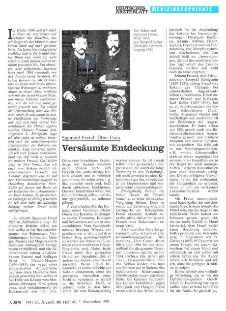 Sigmund Freud: Über Coca Versäumte Entdeckung
