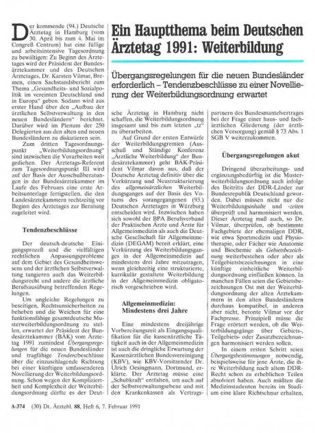 Ein Hauptthema beim Deutschen Ärztetag 1991
