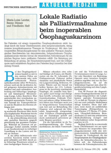 Lokale Radiatio als Palliativmaßnahme beim...